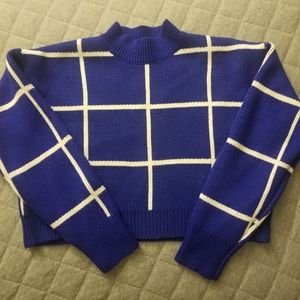 Forever 21 Sweater Crop Top Blue & White Plaid EUC